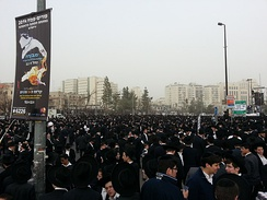 Ultra-Orthodox demonstrators (over 300,000 took part), protesting for the right of Yeshiva students to avoid conscription to the Israeli Army. Jerusalem, 2 March 2014.