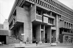 The Boston City Hall (1968), designed by Kallmann McKinnell & Knowles (architects) with Campbell, Aldrich & Nulty (architects) and Lemessurier Associates (engineers).