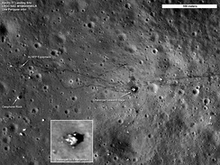 Apollo 17 landing site, photographed in 2011 by Lunar Reconnaissance Orbiter