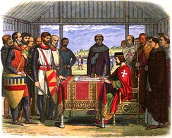 A romanticised 19th-century recreation of King John signing Magna Carta. Rather than signing in writing, the document would have been authenticated with the Great Seal and applied by officials rather than John himself.[216]