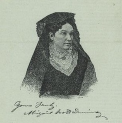 An engraving of Duniway in the middle of her career. Her signature appears below the engraving.