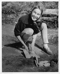Anne Ingstad at L'Anse aux Meadows, 1963. Anne, along with her husband, led an archeological excavation of the site.