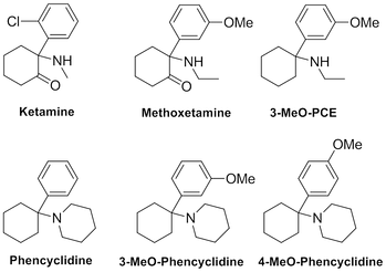 Ketamine and other arylcyclohexylamines.