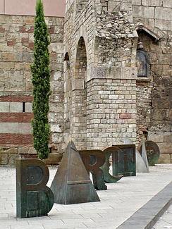 """Joan Brossa: Barcino"" (the ancient Roman name for Barcelona), by the wall ruins near the Cathedral of Barcelona"