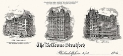 Engraved 1916 letterhead of the Bellevue-Stratford Hotel with vignettes of the hotel as well as those of the Waldorf and Astoria Hotels in New York all of which were then operating under the management of George Boldt.