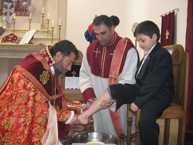 A Washing of Feet ceremony on Holy Thursday in the Armenian Orthodox church
