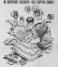 A spinster eagerly awaits the upcoming leap day, in this 1903 cartoon by Bob Satterfield.