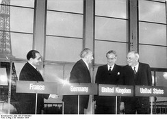 Negotiations in London and Paris in 1954 ended the allied occupation of West Germany and allowed for its rearmament as a NATO member.