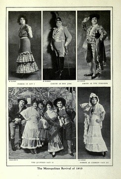 Publicity shots for the Carmen revival at the Metropolitan Opera, New York, in January 1915, with Enrico Caruso and Geraldine Farrar. Caruso is centre in the upper row, Farrar top left and bottom right.