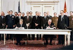 Jimmy Carter and Leonid Brezhnev signing SALT II Treaty, June 18, 1979, in Vienna