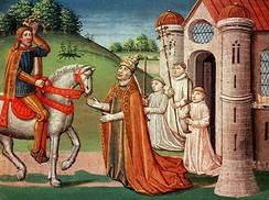 The Frankish king Charlemagne was a devout Catholic and maintained a close relationship with the papacy throughout his life. In 772, when Pope Adrian I was threatened by invaders, the king rushed to Rome to provide assistance. Shown here, the pope asks Charlemagne for help at a meeting near Rome.