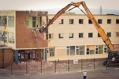 The demolition of the old building in 2005