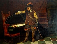 "Cromwell was said to have visited Charles's coffin, sighing ""Cruel necessity!"" as he did so.[286] The story was depicted by Delaroche in the nineteenth century."
