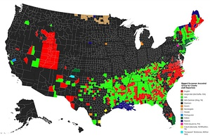 European ancestry in the US by county (self-reported)