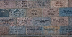Wall of former KGB headquarters in Vilnius inscribed with names of those tortured and killed in its basement
