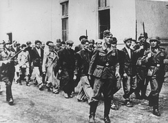 Germans escorting people from Kragujevac and its surrounding area to be executed.