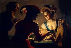 Gerrit van Honthorst (1625), punning visually on the lute in this brothel scene