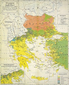 Greek ethnographic map of south-eastern Balkans, showing the Macedonian Slavs as a separate people, by Professor George Soteriadis, Edward Stanford, London, 1918.