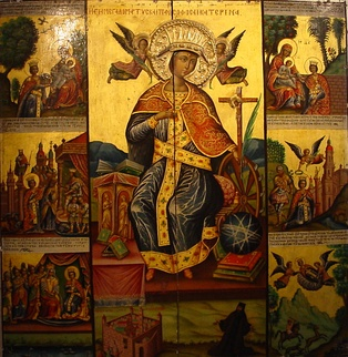 Icon of Saint Catherine of Alexandria from Saint Catherine's Monastery in Sinai, Egypt. The legend of Saint Catherine is thought to have been at least partially inspired by Hypatia.[181][182][183]