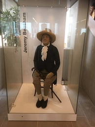 Bentham's auto-icon in a new display case at the Student Centre in 2020.