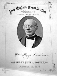 Dinner bill of fare for Lloyd Garrison, Franklin Club, Young's Hotel, Boston, October 14, 1878.
