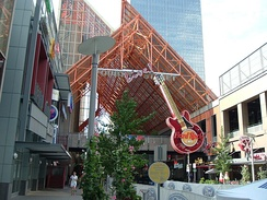 Entrance to the Fourth Street Live! entertainment complex in Louisville, featuring the marquee of the Hard Rock Cafe