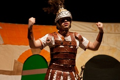 "The ""braggart soldier"" Pyrgopolynices in a 2012 production of the play Miles Gloriosus"