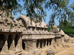 The rock-cut temples at Mamallapuram constructed during the reign of Narasimhavarman I