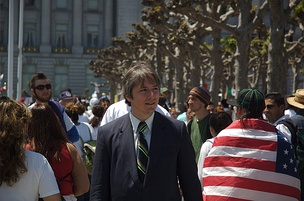 Gonzalez at a Day Without an Immigrant rally in San Francisco