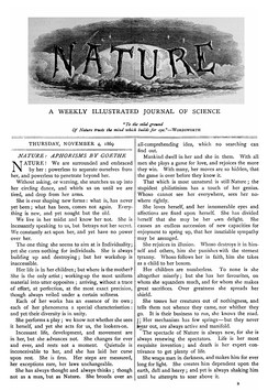 Cover of the first issue of Nature, 4 November 1869
