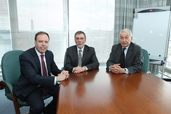 Nigel Dodds, Nelson McCausland and Frank Field (from left ot right) pictured in 2012