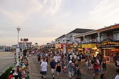 A view of the Ocean City boardwalk looking south.