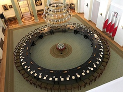 The reconstructed Polish Round Table in the Presidential Palace where an agreement between the communists and the opposition was signed on 4 April 1989