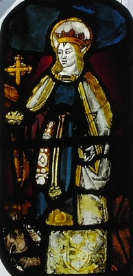 In the gallery of the chapel is a late medieval stained glass image of St Margaret of Antioch.