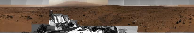 "Panorama of rocks near the Curiosity Rover at ""Rocknest"" (November 16, 2012; white balanced; raw color; interactives)."