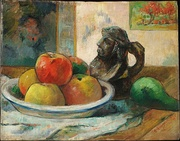 Paul Gauguin, Still Life with Apples, a Pear, and a Ceramic Portrait Jug, 1889
