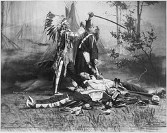 Death of Custer, scene by Pawnee Bill's Wild West Show performers c. 1905 of Sitting Bull's stabbing Custer, with dead Native Americans lying on ground