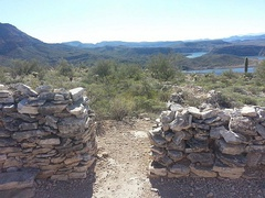 Entrance to a Hohokam home. Lake Pleasant is in the background.