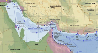 Purple - Portuguese in the Persian Gulf in the 16th and 17th century. Main cities, ports and routes.