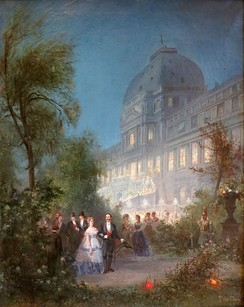 Gala soirée, of 10 June 1867, for foreign sovereigns attending the International Exposition of that year, by Pierre Tetar van Elven. The exterior horseshoe staircase, from the garden to the Salle de Maréchaux, was temporarily erected for the occasion.[6]