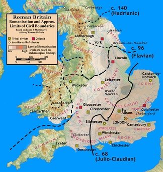 Relative degrees of Romanisation, based on archaeology. Romanisation was greatest in the southeast, extending west and north in lesser degrees. West of a line from the Humber to the Severn, and including Cornwall and Devon, Romanisation was minimal or nonexistent.