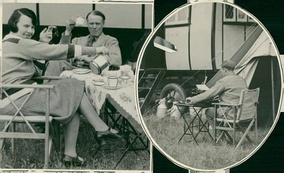 Sinclair Lewis and Dorothy Thompson during their honeymoon caravan trip in England, 1928