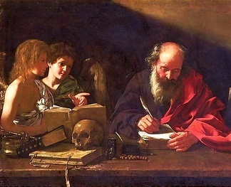 Saint Jerome, who lived as a hermit near Bethlehem, depicted in his study being visited by two angels (Cavarozzi, early 17th century)