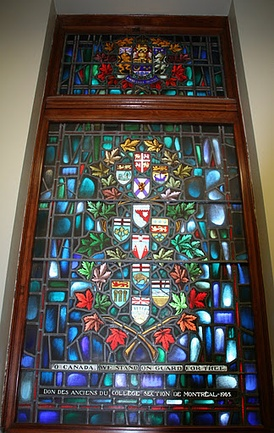 """O Canada we stand on guard for thee"" Stained Glass, Yeo Hall, Royal Military College of Canada features arms of the Canadian provinces and territories as of 1965"