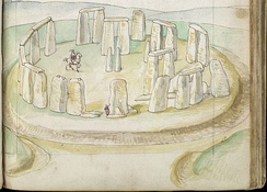 The earliest-known realistic painting of Stonehenge, drawn on site with watercolours by Lucas de Heere between 1573 and 1575
