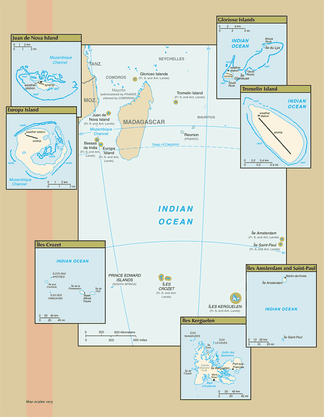 Map of the French Southern and Antarctic Lands.Adélie Land (in Antarctica) and Banc du Geyser and Bassas da India (in the Îles Éparses district) are not shown.
