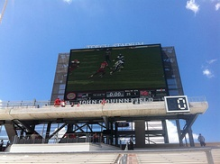 The video board at TDECU Stadium