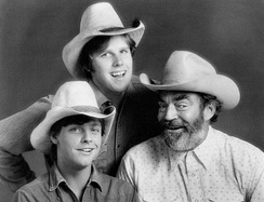 Gary Busey (standing), Mark Hamill and Jack Elam from The Texas Wheelers, 1974