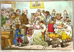 An 1802 cartoon of the early controversy surrounding Edward Jenner's vaccination theory, showing using his cowpox-derived smallpox vaccine causing cattle to emerge from patients.