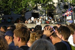 People observing a two-minute silence in Trafalgar Square on the evening of 14 July 2005